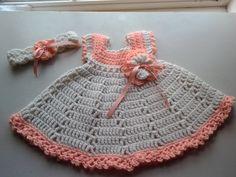 Peach and cream baby dress & headband baby by ShellyBellsCrochet