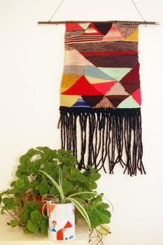 Try Angles Woven Tapestry wall hanging and flower vase -  wall hanging weave, wall hanging yarn