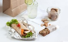 4 Gluten Free Lunch recipes! Vegan Pizza Wraps, Granola Bars, Cheesy Crackers, Cucumber Lime Agua Fresca!