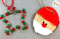 Student-Made Ornaments: Students create a star and santa ornament from wood plaques and translucent beads.