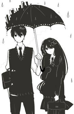 Manga couple. .anime couple. . unbrella..black and white. .school uniform..rain