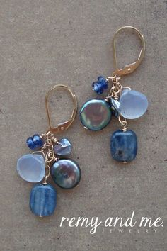 Gemstone and coin pearl cluster earrings by Remy and Me. jewelry