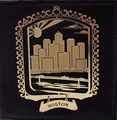 I Love My State California Dreaming Brass Large Landmarks Ornament Black Leatherette Gift Box