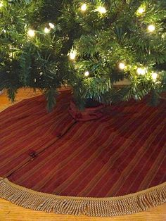Elegant Red Christmas Tree Skirt Maroon with Gold by NonnaDea, $175.00