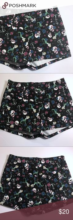 Lovesick High Waisted Shorts Skull Mermaid Anchor Skulls and sirens and anchors, oh my! These amazing shorts from LOVEsick are bound to become a summer favorite. High-waisted with a Button Fly, rolled cuff hem, and black background, the pinup style & Floral print is what makes these stand out. 98% cotton, 2% spandex. Size 7. Pre-owned with some fading at the cuffs.   14.5 in flat hem 10 in rise 3.25 in inseam Measurements are approximate; please allow for human error!  Smoke-free home / No…