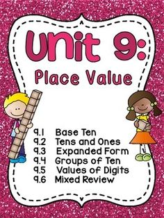 Place value, place value, place value! Over 250 pages that are JAM-PACKED with place value fun!! This unit is filled with everything you need to teach 6 place value standards/concepts: base ten, tens and ones, expanded form, groups of ten, values of digits, and mixed review.