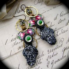 The Black Rose assemblage earrings by AnvilArtifacts