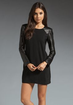 MASON BY MICHELLE MASON Leather Sleeve Shift Dress in Black at Revolve Clothing - Free Shipping!