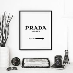 black and white, cool, decor, desk, prada marfa poster