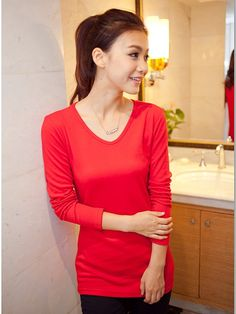 CT05704 All-match round neck slim long sleeve bottoming shirt