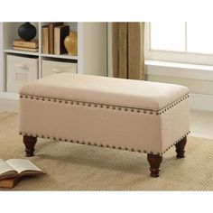 Kinfine Vanilla Linen Nailhead Storage Bench | Overstock.com Shopping - Great Deals on Benches