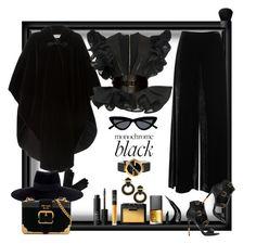 """Black Winter!"" by ritva-harjula ❤ liked on Polyvore featuring Yves Saint Laurent, M Missoni, Maison Michel, Karen Millen, Balmain, Le Specs, Prada, NARS Cosmetics, NYX and Gucci"