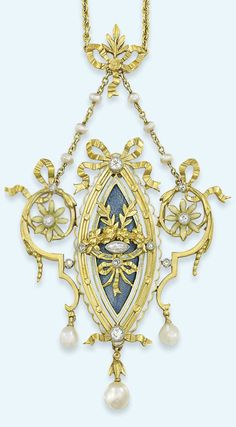 A BELLE ÉPOQUE DIAMOND AND ENAMEL PENDANT NECKLACE, BY LUCIEN GAUTRAIT. Navette-shaped guilloché enamel panel pendant set with marquise and circular-cut diamonds surrounded by chased foliate swag and bow motif, to the scalloped white enamel border and outer openwork scrolling floral frame, suspending three pearl drops, to the belcher link chain initially set with six pearls and further bow design surmount, circa 1900, French marks for gold, signed L Gautrait. ..