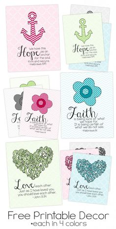 printable art from Kimberly Geswein - there are 4 prints each available in 4 colors. Thanks Kim!Free printable art from Kimberly Geswein - there are 4 prints each available in 4 colors. Thanks Kim! Free Printable Art, Printable Bible Verses, Scripture Cards, Free Printables, Printable Planner, Printable Quotes, Bible Scriptures, Bible Verse Decor, Bible Art