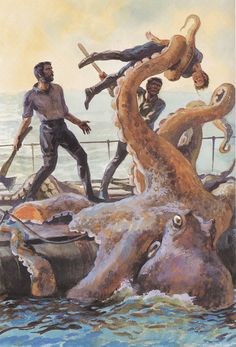 Jules Verne's Leagues under the Sea, as illustrated by Anatoly Itkin. Ocean Creatures, Fantasy Creatures, Mythical Creatures, Cthulhu, Pulp Fiction, Science Fiction, Le Kraken, Giant Squid, Octopus Art