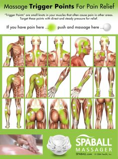 Massage Trigger Points For Pain Relief Would you like to know some massage therapist secrets for pain relief? I thought so! Knowing where some common trigger points are can be super-helpful. There are hundreds of trigger points in your body and when these Massage Tips, Massage Benefits, Massage Therapy, Health Benefits, Health Tips, Massage Body, Cupping Therapy, Hand Massage, Trigger Point Therapy