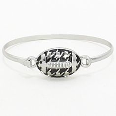 """Houndstooth bangle style football bracelet with hook closure. 5/8"""" H, 2 1/2"""" D"""