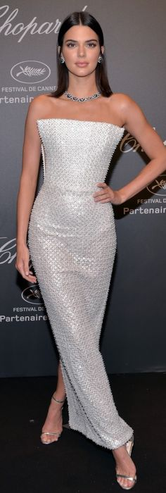 Who made Kendall Jenner's jewelry and silver strapless gown?