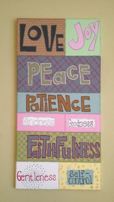 Fruit of the Spirit canvas hand painted 15x30 on Etsy, $50.00