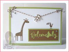 Stampin' Up! Rosa Mädchen Babykarte mit Zoo Babies
