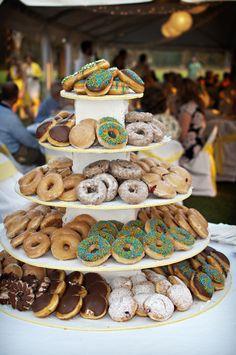 41 Ideas For Wedding Food Display Donut Tower Dessert Bar Wedding, Wedding Donuts, Wedding Desserts, Dessert Bars, Dessert Table, Wedding Cakes, Donut Tower, Mini Donuts, Doughnuts