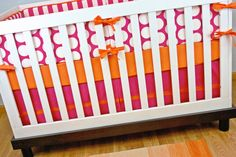 Pink Orange Crib Bedding, Baby Bedding, Modern Nursery Custom Crib Set Dots Stripes