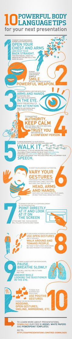 10 Powerful body language tips for your next presentation (infographic) - help students develop good communication skills in any content area. Langage Non Verbal, Public Speaking Tips, Neuer Job, Business Intelligence, Communication Skills, Body Language, Sign Language, Marketing, Study Tips