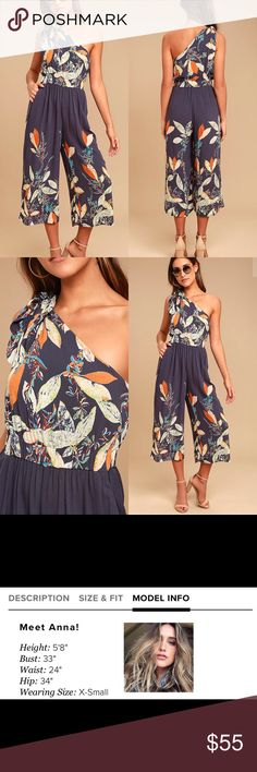 Free People Island Time Jumpsuit The Free People Island Time Denim Blue Print Midi Jumpsuit is the best thing that ever happened to your vacay! Gauzy woven rayon, with an orange, beige, green, and blue leaf print, shapes a tying, one-shoulder neckline, and elasticized waist. Wide, culotte pant legs with side seam pockets complete this festive look! Unlined. 100% Rayon Hand Wash Cold Imported. Free People Pants Jumpsuits & Rompers