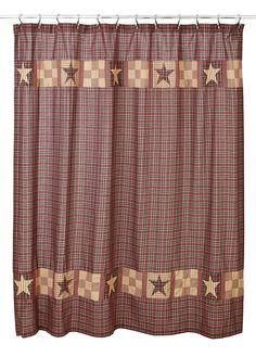 Bradford Star Shower Curtain Bring primitive, country charm to your bathroom decor when you add this Bradford Star Shower curtain to your decor. It measures and is unlined. It features a red, b Red Curtains, Fabric Shower Curtains, Bathroom Styling, Bathroom Interior Design, Primitive Bathroom Decor, Primitive Decor, Ideas Dormitorios, Bathroom Red, Bathroom Carpet