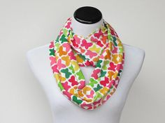 Infinity scarf multicolor rainbow scarf circle scarf butterfly loop scarf - bright neon scarf gift idea for her on Etsy, $17.00