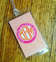 Circle Monogram Luggage Tag  Personalized Tag  by peachymommy, $7.00