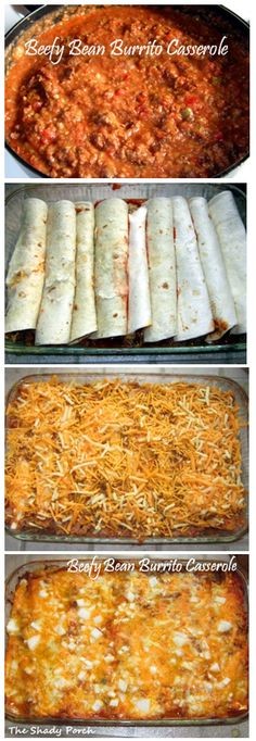 Beefy Bean Burrito Casserole... Would probably add some Mexican rice inside the burritos : )