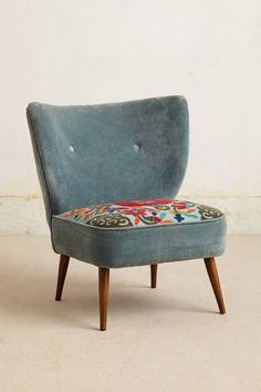 Lovisa Applique Chair - anthropologie.com Cotton velvet and corduroy embroidery. Pale Blue.  Sigh....