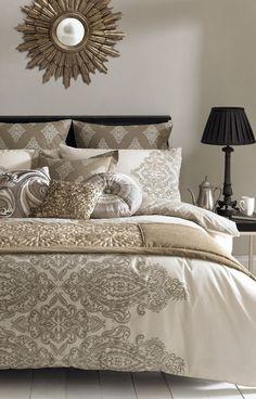 Opulent mink coloured bedding. http://www.beddingworld.co.uk/p/Elizabeth_Hurley_Tobago_Duvet_Cover.htm