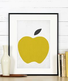 Fruit retro poster kitchen art apple minimalist by EmuDesigns Retro Poster, Vintage Posters, Art Scandinave, Kitchen Art, Design Kitchen, Kitchen Retro, Kitchen Walls, Kitchen Ideas, Art Minimaliste