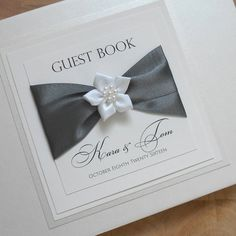 Wedding Guest Book Guestbook Bridal Luxury Journal Satin Ribbon & Flower. Free Guest Book Sign. Personalised and Custom Made in your colours