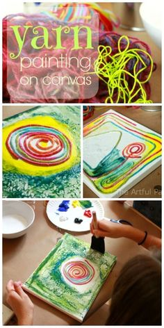 How to do yarn painting on canvas using glue-soaked yarn or string and painting as you go. This is a fun art activity for any age! Yarn Painting, Painting For Kids, Art Activities For Toddlers, Summer Activities, Easy Art For Kids, Glue Art, Preschool Crafts, Preschool Education, Art Education
