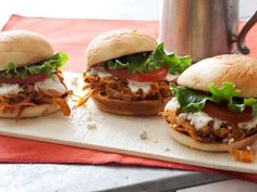 Buffalo Chicken Sliders : Boneless chicken thighs make this sandwich juicy and flavorful, but you can use chicken breasts if you prefer — just butterfly them before browning and be careful not to overcook them. Serve with homemade ranch dressing.