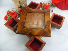 Carved Thuya wooden turning box gift , secret storage from Morocco, jewelry storage , Lined handmade jewellery box.   This beautiful box wonders at LITTLE PRICE has been hand-crafted by the great master craftsmen of the region.  The box is lined with red velvet all around the inside of the base and Handmade Jewelry Box, Wooden Jewelry Boxes, Wooden Boxes, Hide Money, Jewellery Storage, Jewellery Box, Secret Box, Secret Storage, Magic Box