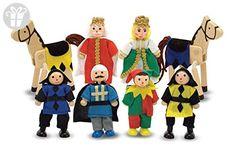 Melissa & Doug Castle Poseable Wooden Doll Set (8 pcs) for Castle and Dollhouse (3-4 inches each) (*Amazon Partner-Link)