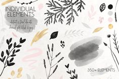 Ad: Charcoal, Gold & Blush Collection by Patrycja Dolata on Introducing the delicate & elegant collection of frames, patterns and compositions. Collection is also a big variety of individual Graphic Illustration, Illustrations, All Design, Graphic Design, Charcoal, Vector Graphics, Best Brand, Blush, Clip Art