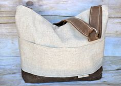 French linen & Waxed Canvas Cross body bag, room for your Laptop / tote bag / boho bag, Faux Vegan Leather, Darby Mack, in stock