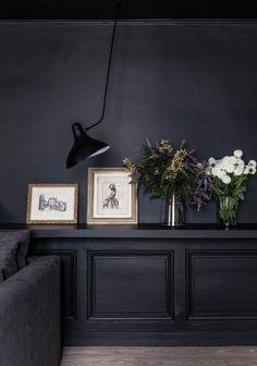 Dark Walls and Black Wall Lamp | Living Space