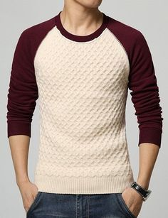 2299aab22 Classic Color Block Geometric Pattern Slimming Round Neck Long Sleeves  Flocky Sweater For Men