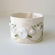 Embroidered Wedding Cuff Bracelet by bstudio on Etsy, $50.00