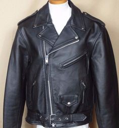 River Road Iron Clad Black Leather Motorcycle Jacket Size 44 #RiverRoad #Motorcycle
