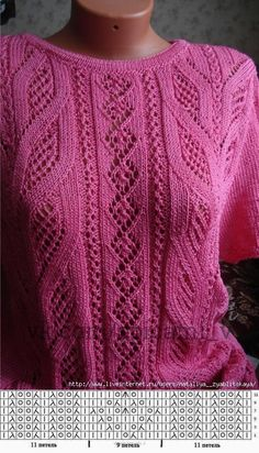 New Ideas for crochet lace sweater pattern ideas Lace Knitting Patterns, Knitting Charts, Easy Knitting, Knitting Stitches, Knitting Designs, Stitch Patterns, Knitting Sweaters, Knitting Ideas, Crochet Summer
