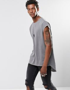 Image 1 ofASOS Super Longline T-Shirt With Cap Sleeve And Curved Back Hem