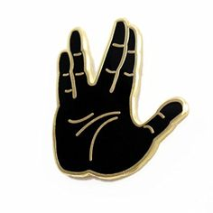 "In honor of the late, great Leonard Nimoy and inspired by the emoji symbol, we created the Vulcan Salute, the famous ""Live Long and Prosper"" hand symbol from Star Trek. Star Trek Gifts, Hand Symbols, Jacket Pins, Live Long, Black Enamel, Emoji, Stars, Leonard Nimoy, Patches"