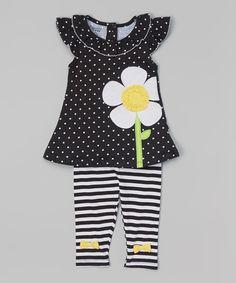 Black Daisy Tunic & Stripe Leggings - Infant, Toddler & Girls
